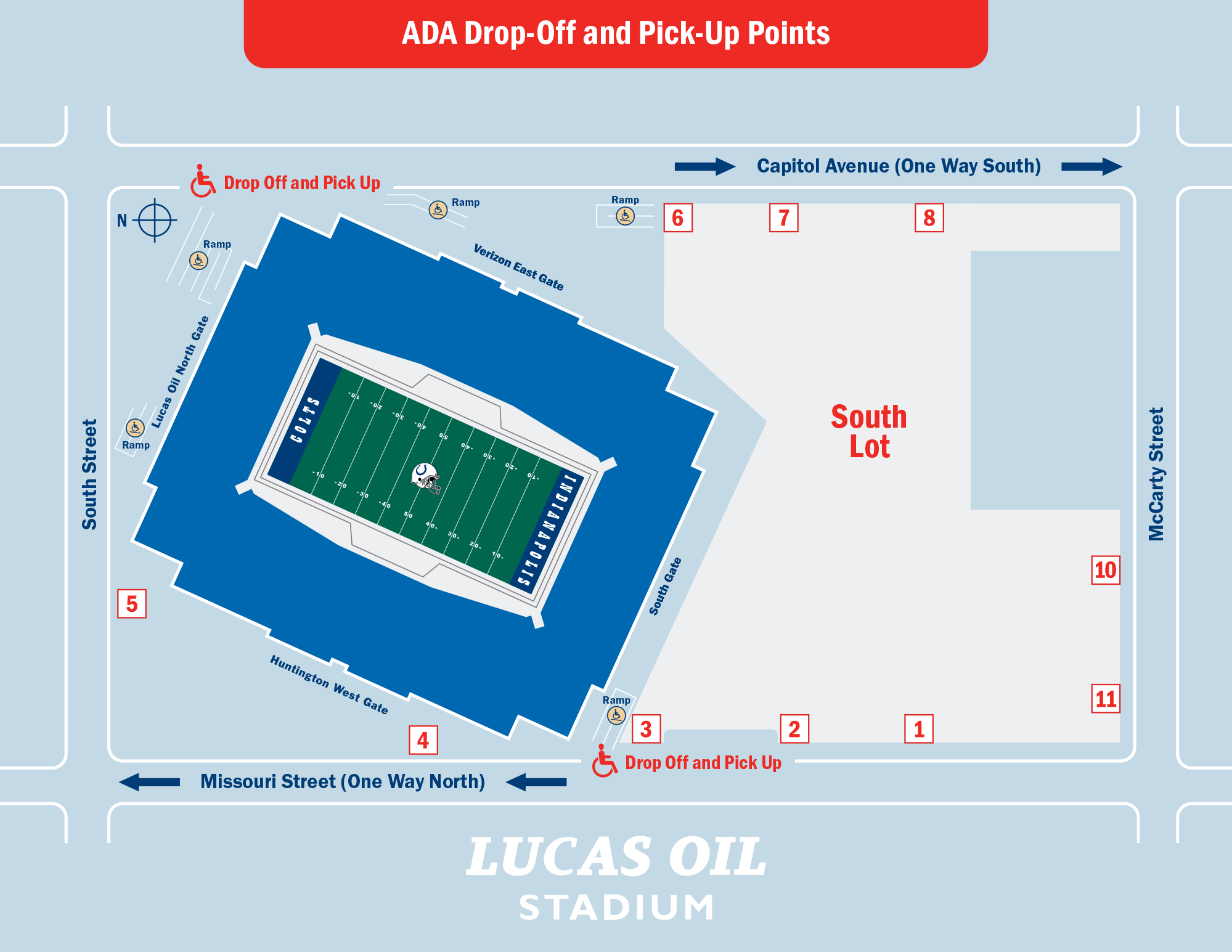 Lucas Oil Stadium ADA Drop-Off and Pick-Up Points