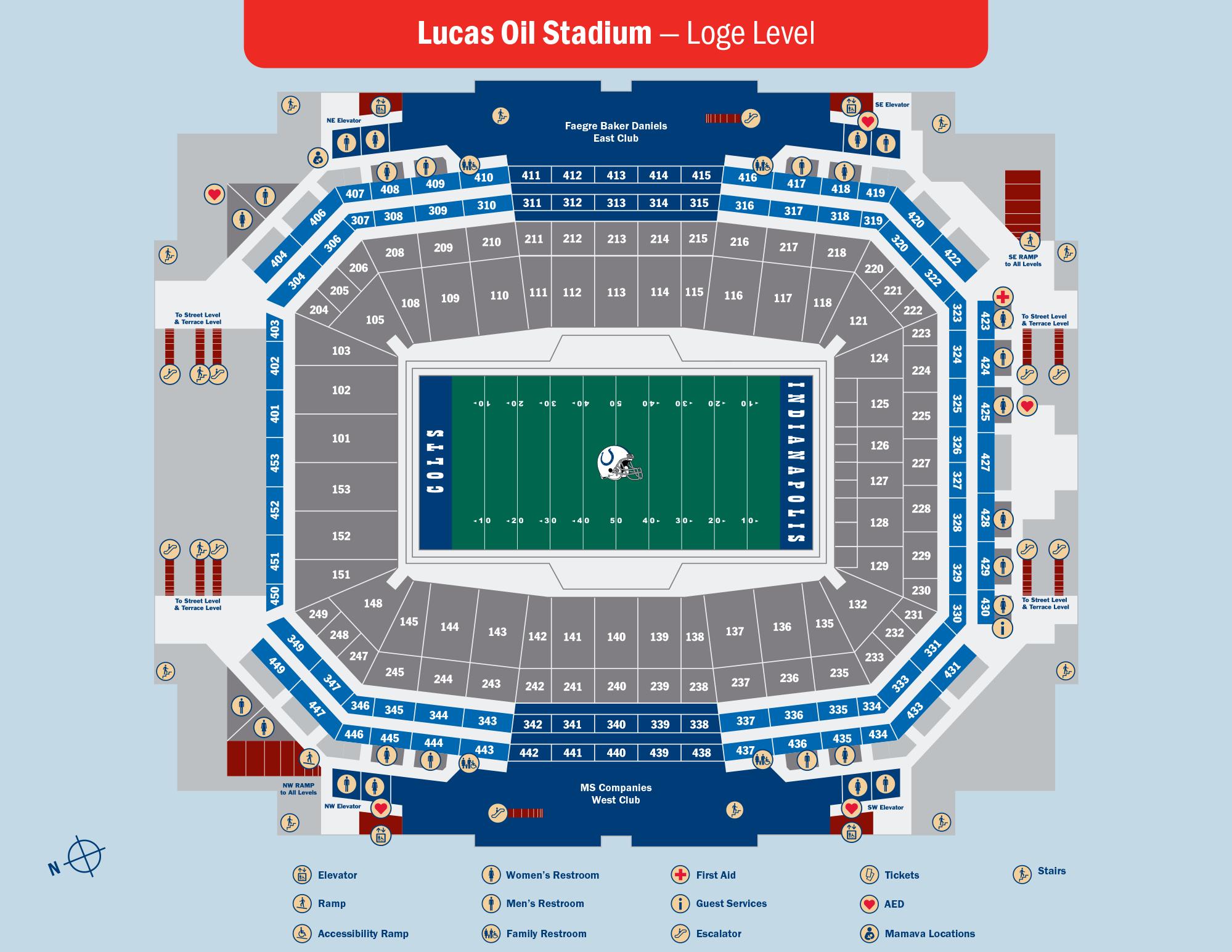 Lucas Oil Stadium Loge Level Map