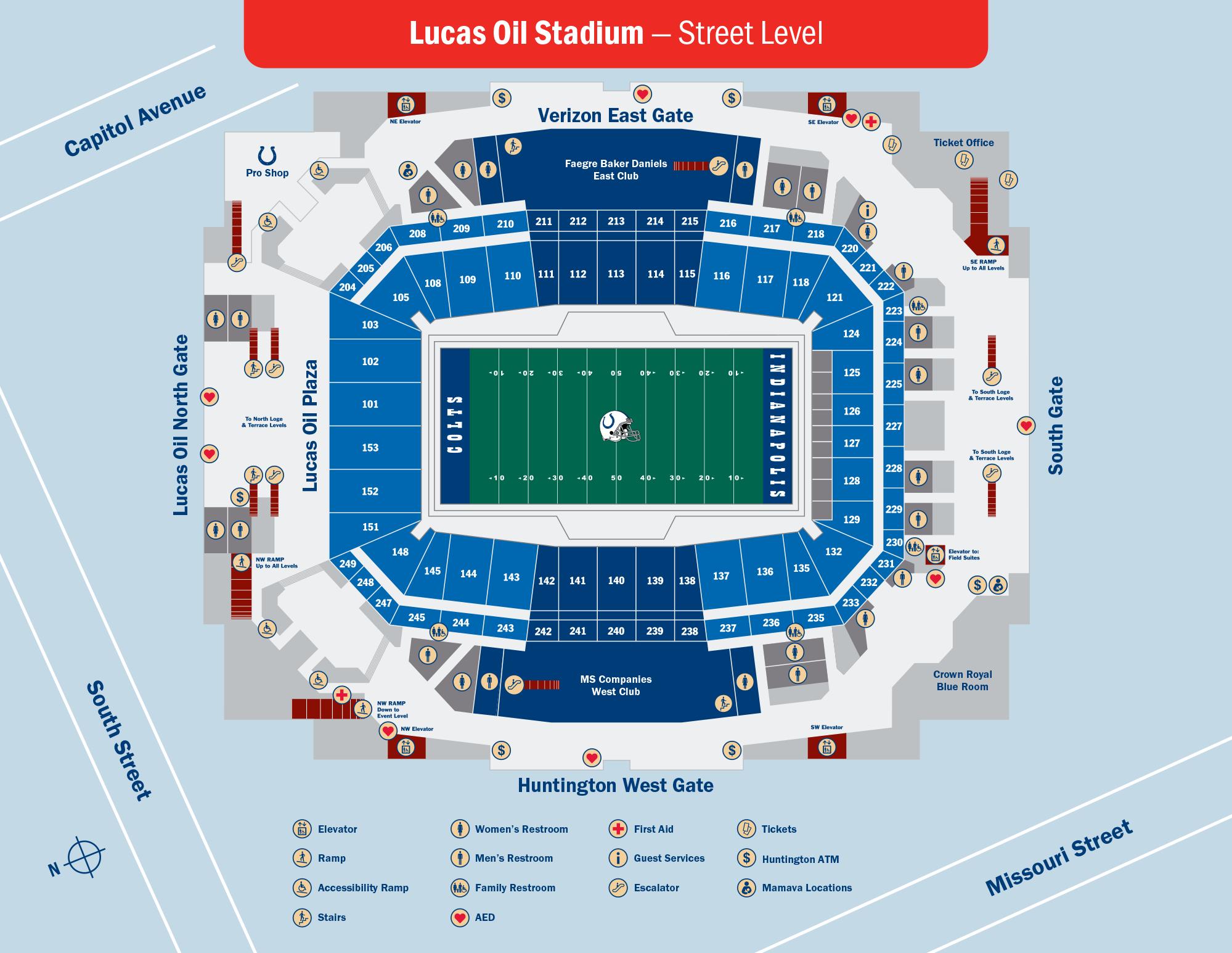 Lucas Oil Stadium Street Level Map