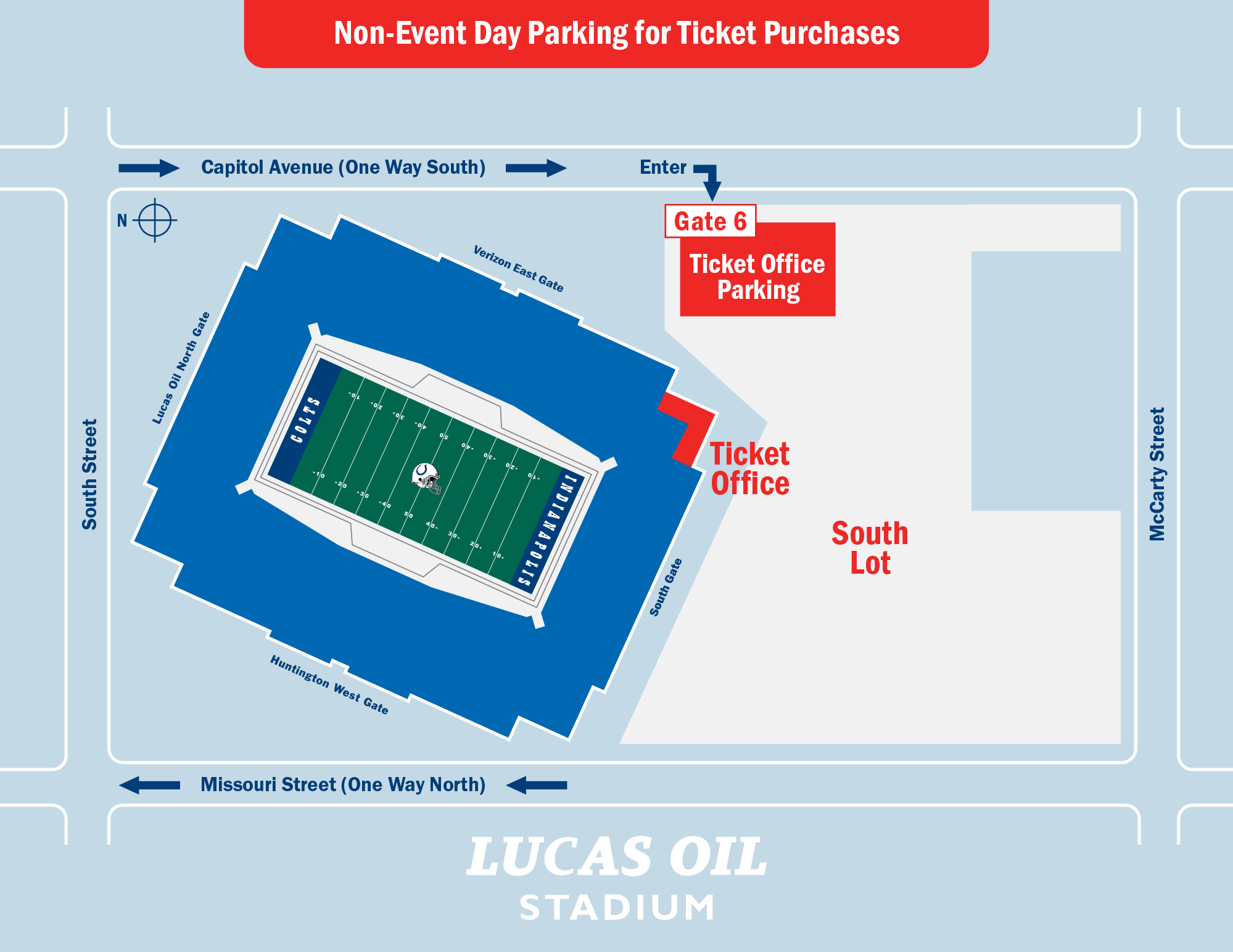 Lucas Oil Stadium Non-event Day Parking for Ticket Purchases